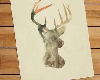 Deer Art - Antler Art - Deer Silhouette 8x10 Art Print