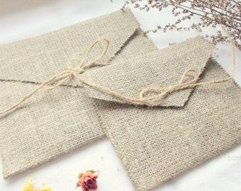 10 Grey Linen Burlap Envelopes Wedding Invitations Envelopes For Foto Packing Prints