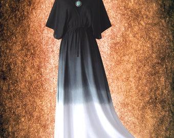 Vintage Gradation Kimono Dress Hand dyed Wearable Art Casual maxi Dress