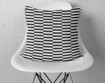 Decorative Throw Pillow 18x18 | Stripe Pillow Cover | Striped Throw Pillow Cover | Black and White Pillow Case | Black White Pillow 18 x 18