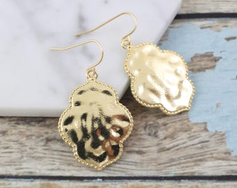 Gold Small Quatrefoil Earrings ,Gold Filigree Earrings, Chic Bohemian  Earrings, Moroccan Earrings, Bridesmaid Earrings - 2015