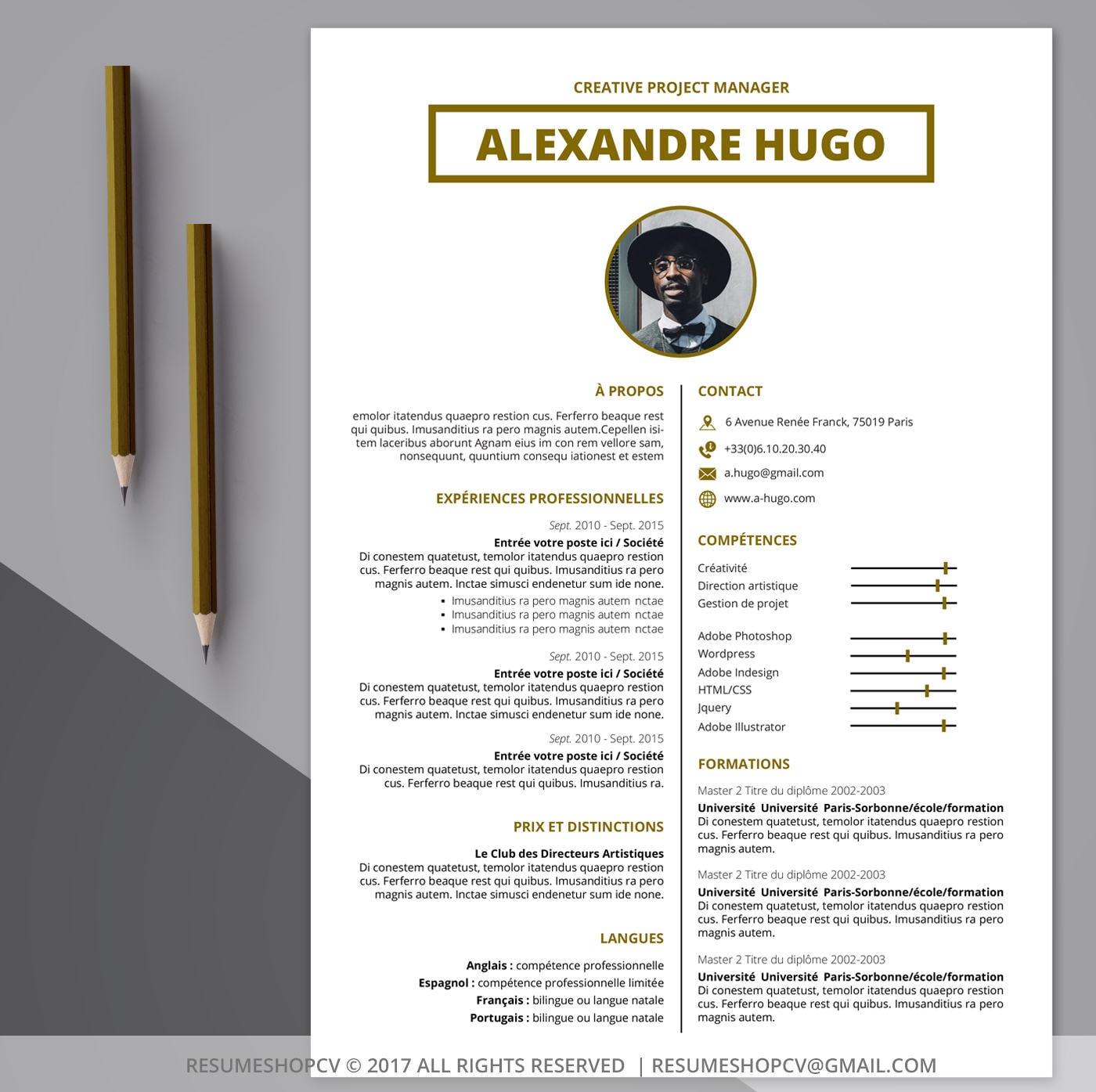3 CV / reanudar profesional, moderno y gráfico + 3 Pack de imagen de Microsoft Word + carta de motivación (GoldWorker 7.0)