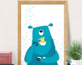 Bear print, Nursery wall art, Nursery decor, Nursery room wall decor, blue bear print, Nursery wall decor, Baby room decor, Minimal bear