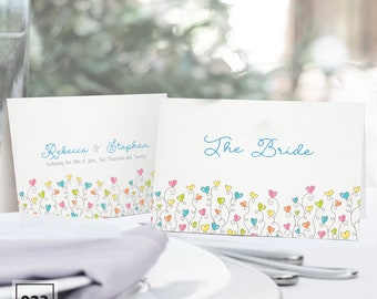 Wedding Place Names -  Dancing Hearts Style 023 - Customisable - Kays Weddings