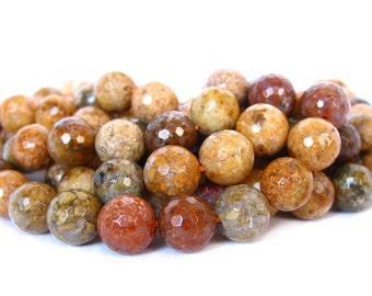 """15"""" 6mm / 8mm / 10mm Snakeskin Agate FACETED round Beads polished Gemstone - brown yellow multicolor - full strand - PICK SIZE"""