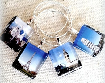 Glass Wine Charm Party Favor Tags l Handmade World Travel Charms l Paris Eiffel Tower, Big Ben, Leaning Tower of Pisa