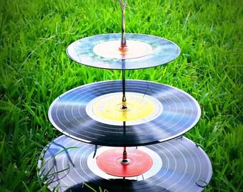 Tier Record Cupcake Stand Cake Theme 50's 60's 70's 80's Decoration Wedding Retro Disco Vintage Rock n Roll Vinyl Baby Shower Birthday Bowl