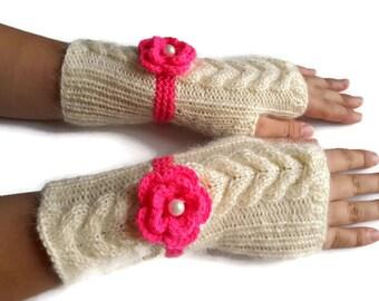 30% Off Fingerless Gloves, Hand Knitted Ivory-Pink Gloves