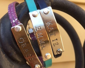 custom leather name bracelet, personalized, women girls hand stamped, name, words, initials, dates, girlfriend, daughter, friend, bridesmaid