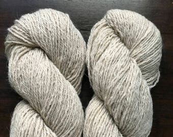 Hilda and Linnet's Yarn; 50/50 llama and wool mix, sport weight, 3-ply, naturally colored