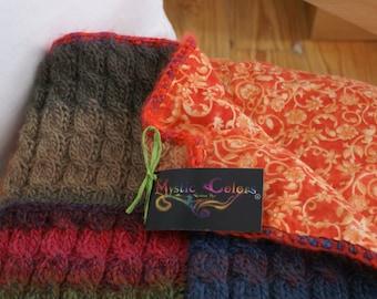 Rainbow -  knitted handmade wool afghan-Knitted wool quilt-Quilted afghan-Knitted wool blanket-Wool quilted bed cover-Wool handmade throw