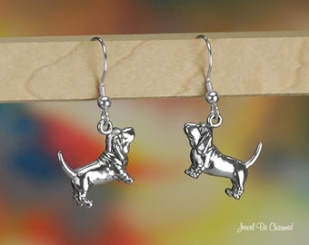 Basset Hound Earrings Sterling Silver Pierced Fishhook Earwires .925