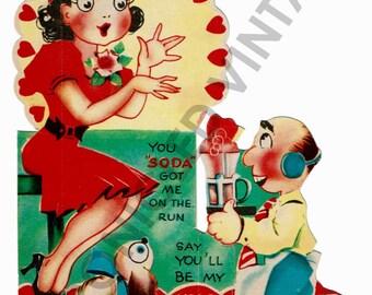 Vintage Valentine Digital Download Soda Shop Couple