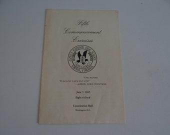 1965 James Madison High School Fifth Commencement Exercises Program Constitution Hall Washington D.C. - June 7, 1965 Commencement Program