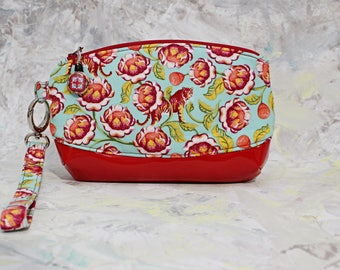 Wristlet, cell phone clutch, wristlet wallet,  evening purse, small clutch, zippered pouch, zippered clutch, removable strap, pencil case