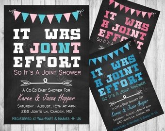 Joint baby shower etsy its was a joint effort baby shower invitation fun invite couples baby shower filmwisefo Images