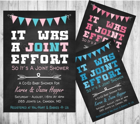 its was a joint effort baby shower invitation fun invite