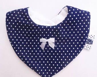 Bandana bib baby blue with white polka dots cotton