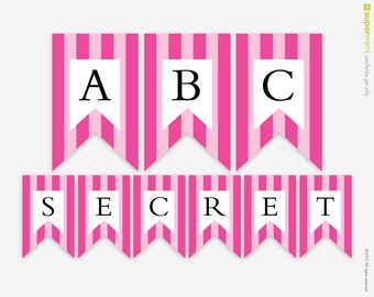 Pink Stripes Victoria Secret Themed Banner A to Z / Instant Digital Download