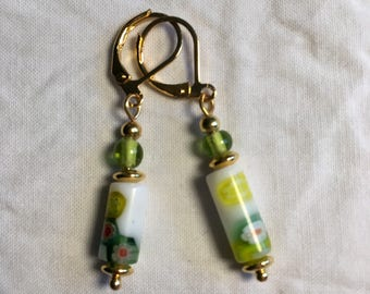 Earrings, millefiori tube beads