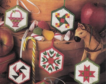 Quilt Block Ornaments in Plastic Canvas, Projects in Plastic Canvas, Flying Geese, Ohio Star, Maple Leaf, Vintage Annie's Attic Leaflet