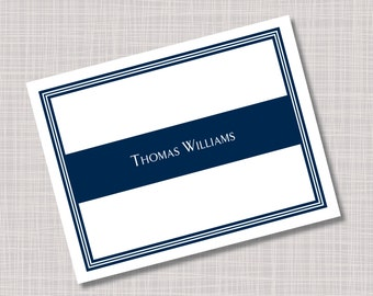 Custom Men's Masculine Navy Blue Note Cards - Any Color!