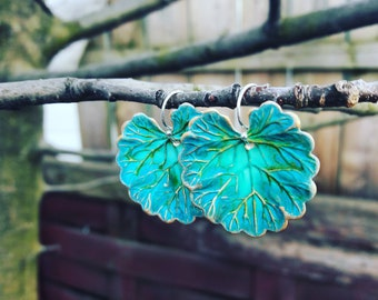 Gorgeous Verdigris Geranium leaf earrings, nature inspired earrings, leaf earrings,Large green leaf earrings,leaf jewelry, gift for her