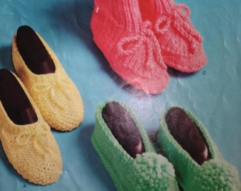 Knitting Patterns Slippers 3 Different Styles PDF Instant Download
