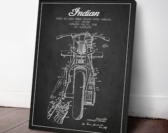 1948 Indian Motorcycle Patent Canvas Print, Wall Art, Motorcycle Print, Motorbike Art, Motorbike patent, Home Decor, Gift Idea, TR10C