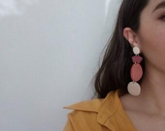 Drops - warm toned, four piece geometric statement maxi earrings