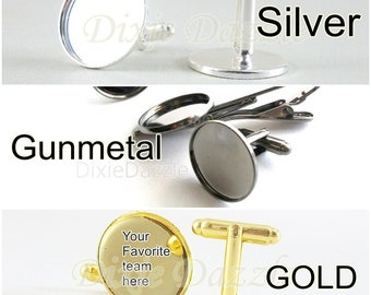 Reserved 60 total, 20  each gunmetal, gold, stainless steel cuff link bases