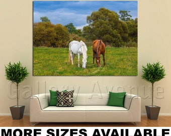 Wall Art Giclee Canvas Picture Print Gallery Wrap Ready to Hang Grazing Horses Autumn Scene Central Russia 60x40 48x32 36x24 24x16 18x12 3.2