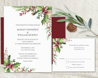 Winter Wedding Invitation Printable Template Rustic Winter Invitation Set Christmas Wedding Burgundy Berry Holly Pinecone Wedding Invitation