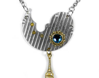 Steampunk Jewelry Necklace PINSTRIPED Watch Plate Gold Accent Turquoise Crystal, EIFFEL TOWER Gold Dangle - Jewelry by SteampunkBoutique
