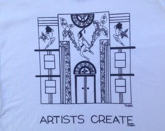 Art Deco Tee Shirt- Artists Tee Shirt- Art Nouveau Tee Shirt- Art Deco Architecture Tee- Gift for Artists- Art Deco Gift- Hand Drawn- Small
