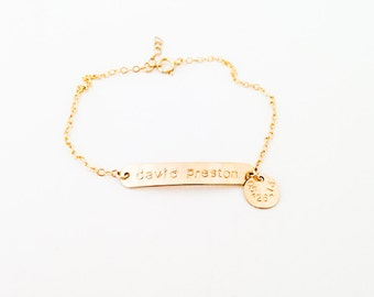 bracelet // custom stamped id bracelet with name and date dainty gold filled bracelet