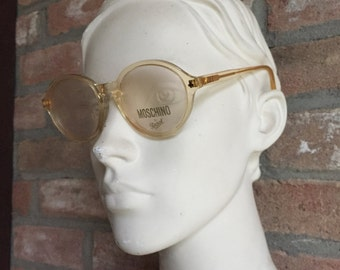round clear yellow vintage Persol Moschino eyewear, NOS, New old stock, unisex