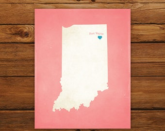 Customized Printable Indiana State Map - DIGITAL FILE, Aged-Look Personalized Wall Art