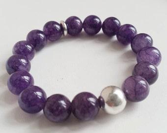 Pretty Purple Mountain Jade and Silver Stretch Bracelet