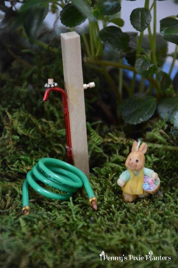 Lovely Miniature Garden Hose With Spigot Fairy Garden Water Hose