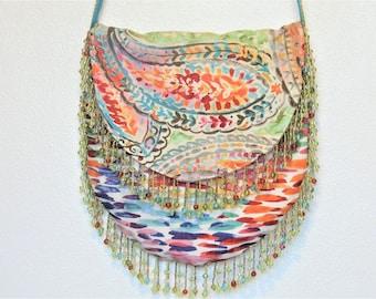 Brightly colored Paisley Bohemian cross body bag, Hippie Bag, gypsy shoulder bag