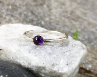 Amethyst Stacking rings, silver stacking ring, February Birthstone, Thin Stacking Rings, Amethyst ring, Gift for her, Birthstone ring