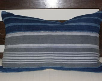 15 x 23 Vintage African Mud Cloth blue gray striped cotton linen pillow cover