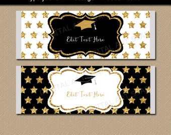 Elegant Graduation Candy Bar Wrappers, College Graduation Party Ideas, Class of 2018 Party Favors, Black and Gold Graduation Favors G10