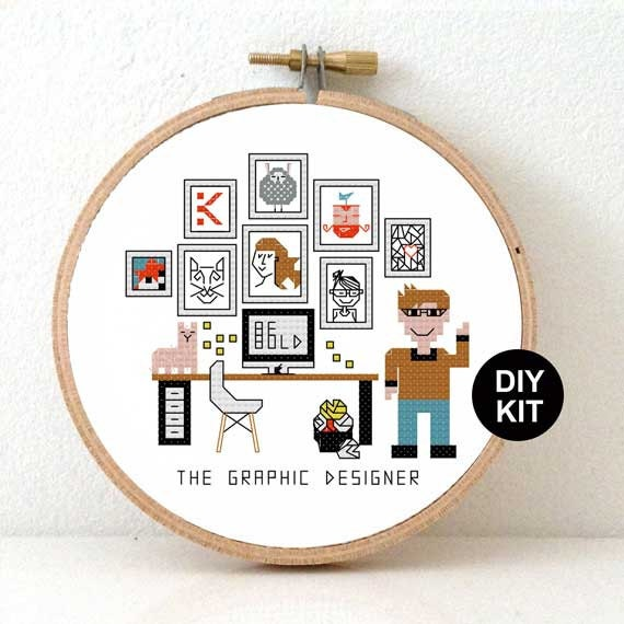 Graphic designer Cross Stitch Kit. Gift for illustrator.