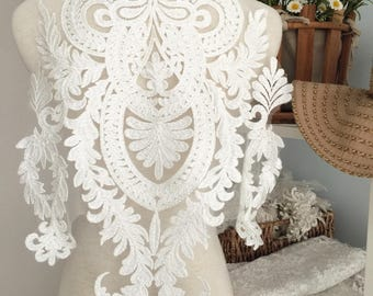 Gorgeous Large Embroidery Lace Applique , Illusion Bridal Gown Back Applique Piece for Hem, Bodice, Back Top