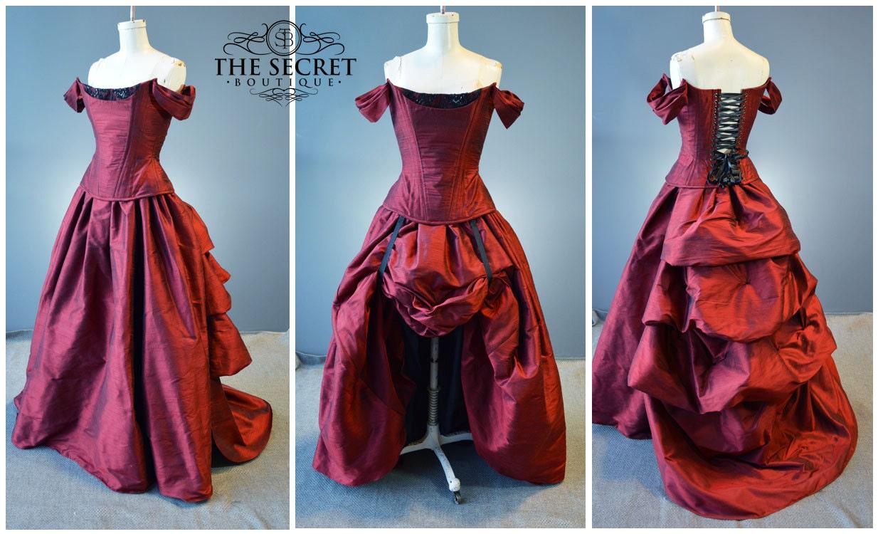 rote Braut Kleid-Hektik Kleid-Gothic Hochzeit Kleid-Steampunk