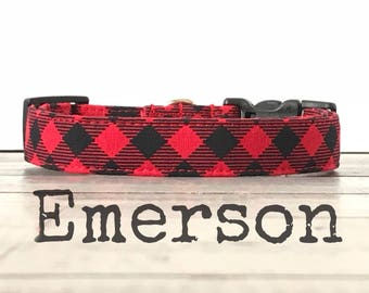 DOG COLLAR, Dog Collars, The EMeRSoN, Buffalo Plaid Dog Collar, Girl Dog Collar, Boy Dog Collar, Cool Dog Collars
