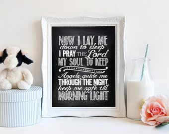 """INSTANT DOWNLOAD 8X10"""" printable digital art -Now I lay me down to sleep- Prayer - Baptism gift - Religeous - Chalkboard effect- Nursery"""