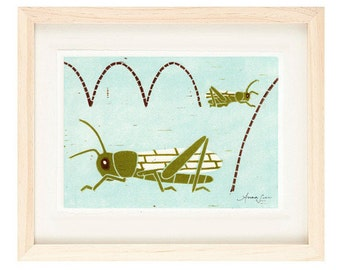 GRASSHOPPERS Linocut Reproduction Art Print: 4 x 6, 5 x 7